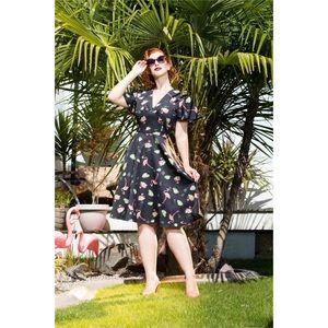 NWT VOODOO VIXEN Lena Flamingo Retro Tea Dress